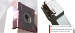 Imagen de placa de roscar y ranurar sobre el mismo portaherramientas. FourCut Ranurar.